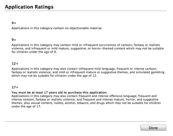 iTunes App Store Application Rating