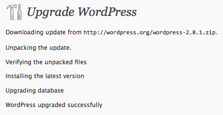 Upgrade to WordPress 2.8.1