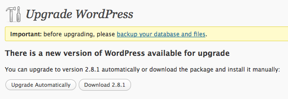 WordPress 2.8.1 Upgrade in Dashboard
