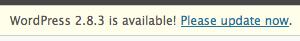 upgrade to WordPress 2.8.3 notification