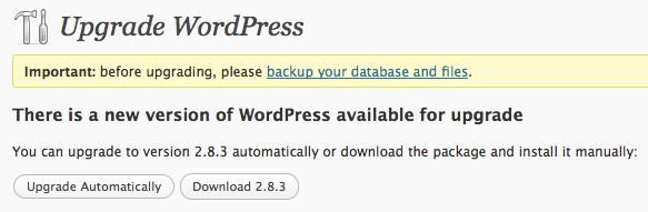 upgrading to WordPress 2.8.3