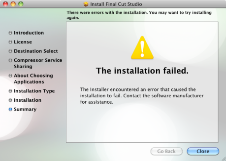 Final Cut Pro 2009 Failed Installation